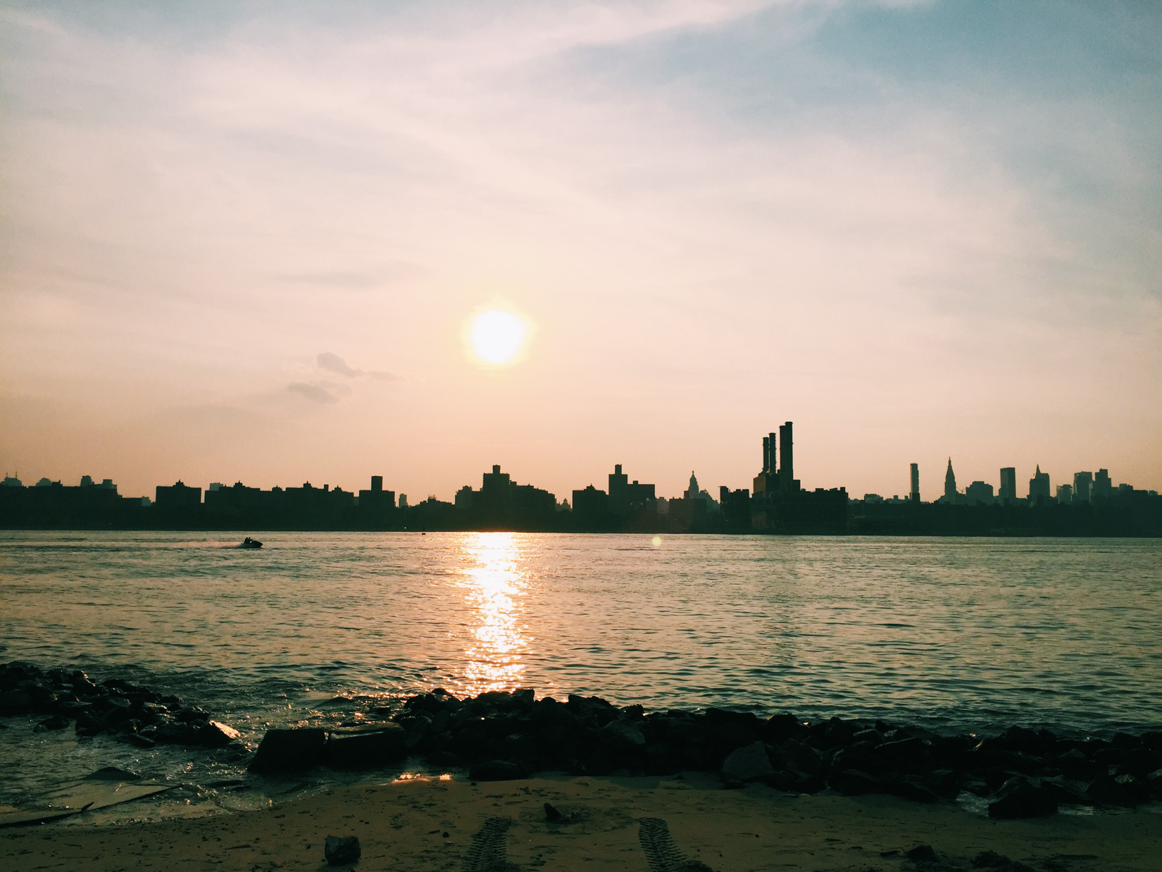 Sunset Overlooking Cityscape and Beach