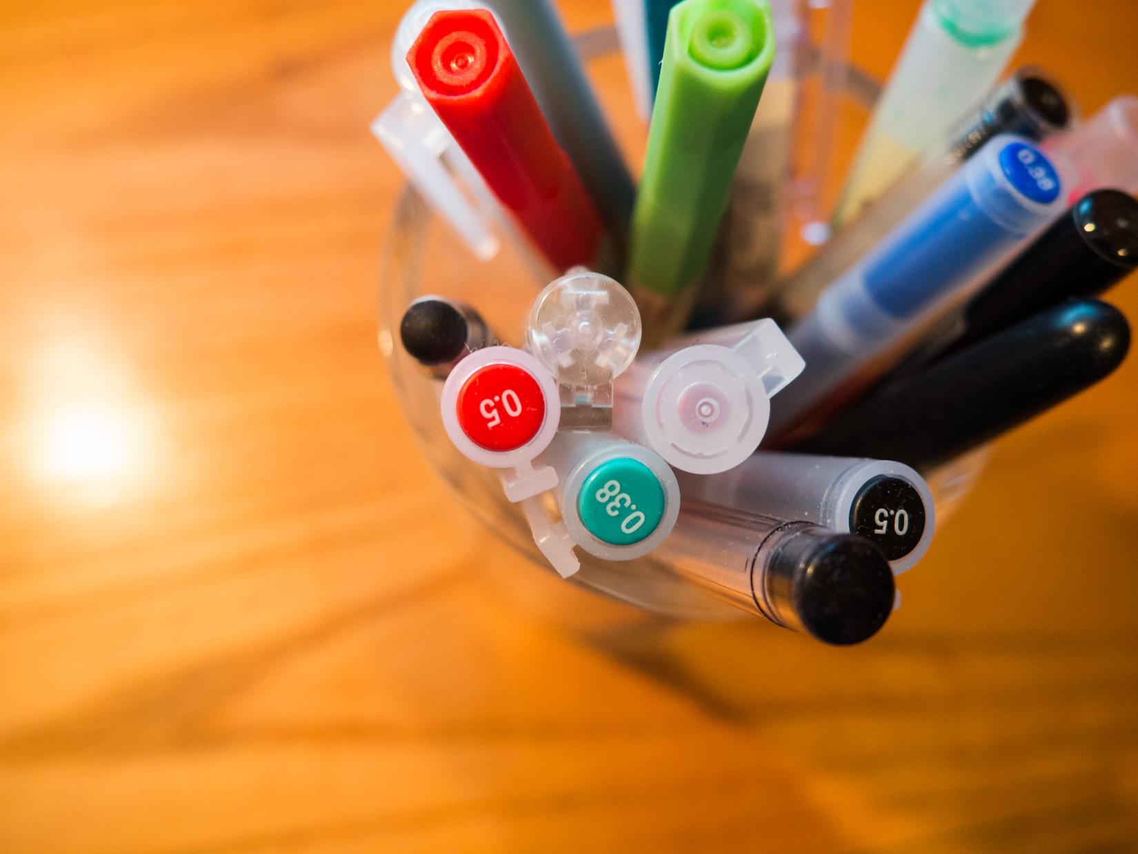 Pens on Desk