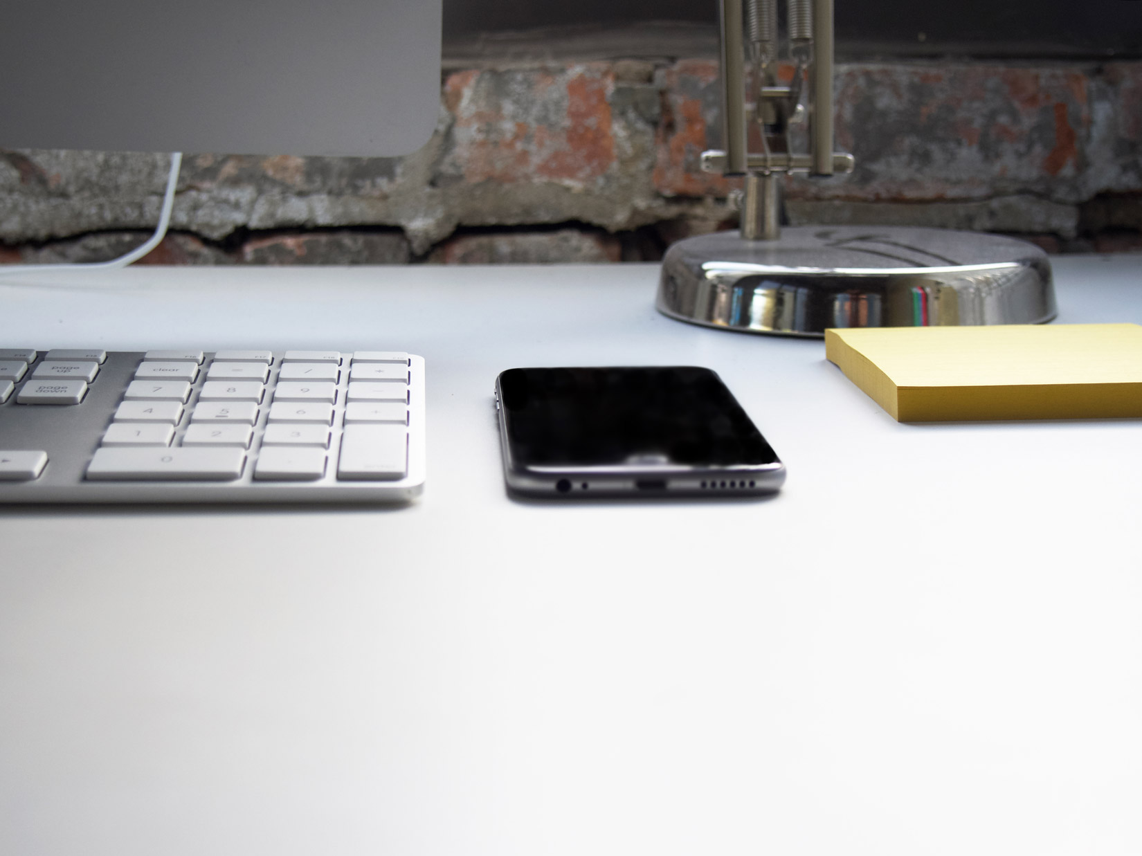 Computer and Phone on Desk