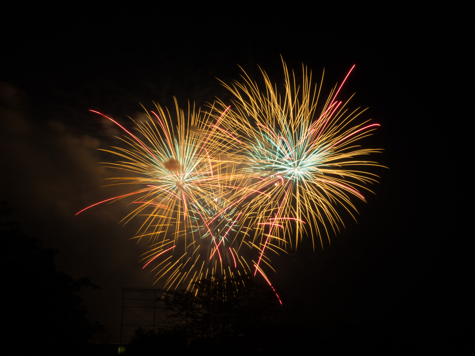 Orange and White Fireworks