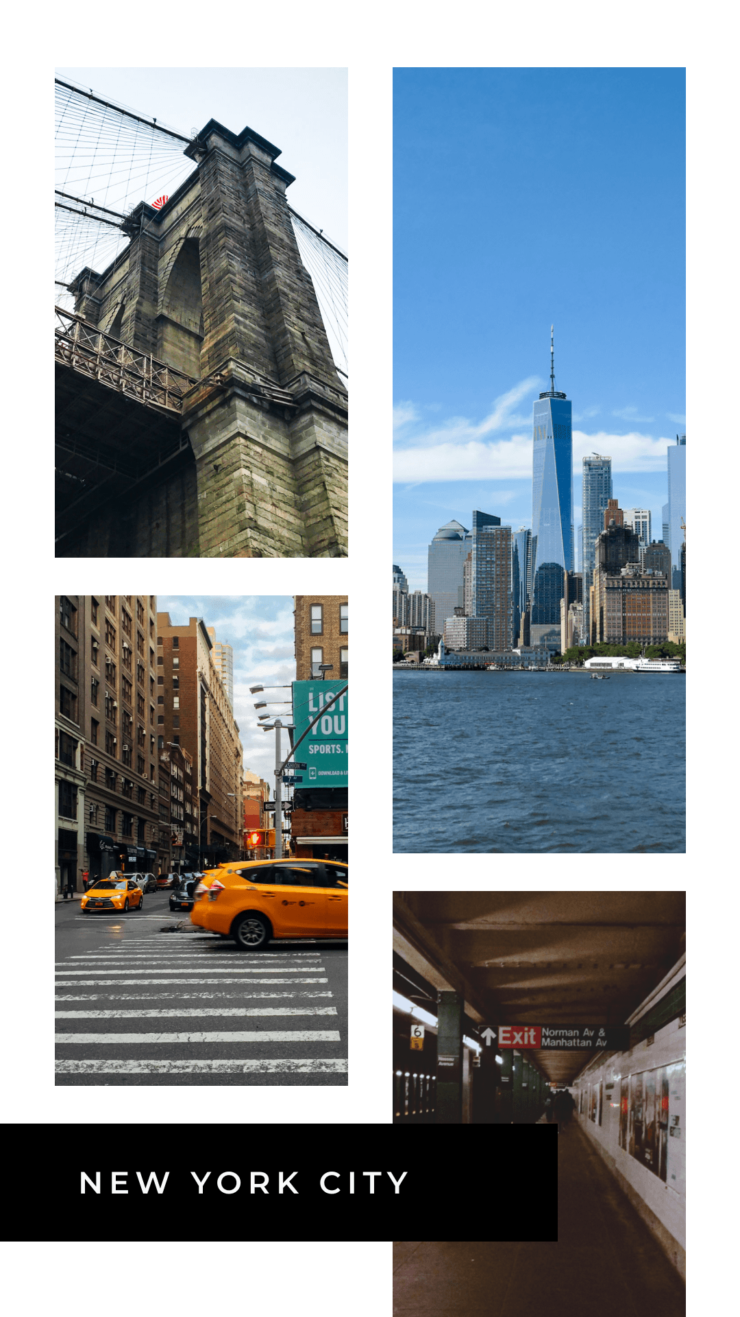 4 Framed Photo Grid with Caption in Rectangle